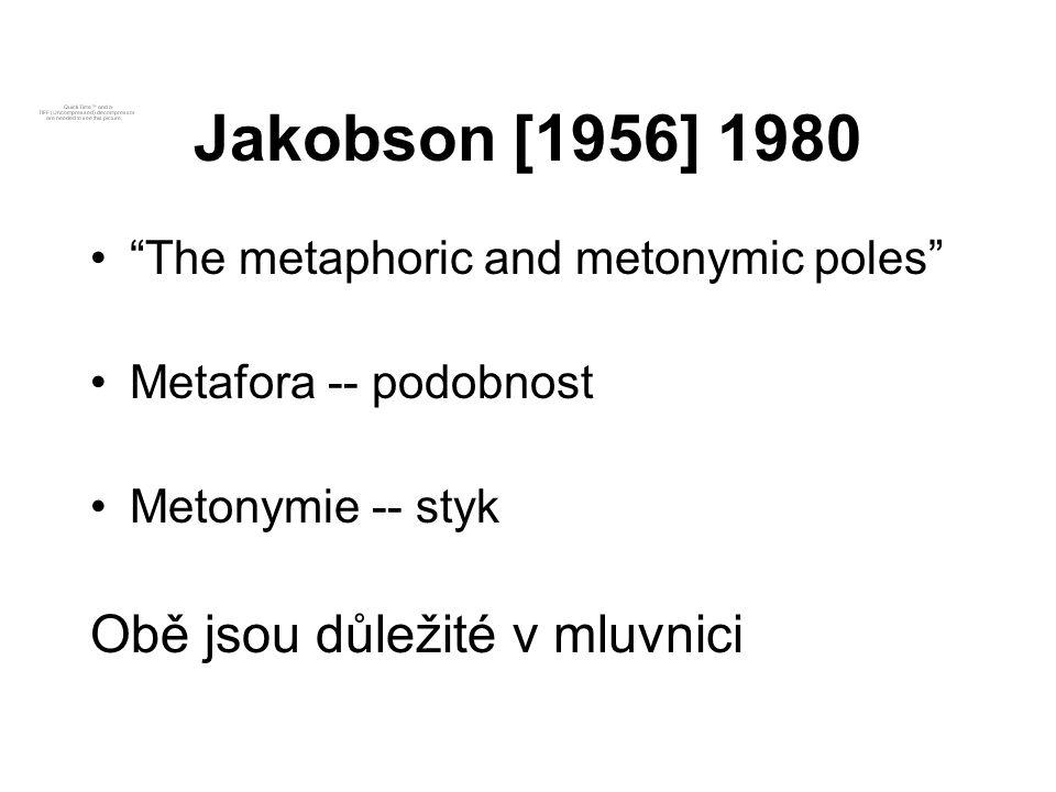 Jakobson [1956] 1980 Obě jsou důležité v mluvnici